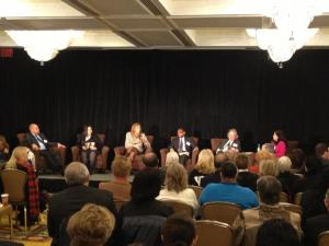 "The ""Saving Catholic Schools"" panelists (l-r): Assemblyman Karim Camara; CSF Alum Jorvelyn Tejada; CSF President Darla Romfo; Principal Antwan Allen; Author Peter Meyer, and moderator Sheila Mulcahy."