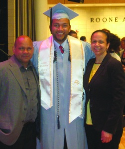 CSF Alum Jason Tejada graduating from Columbia with proud parents, Francisco and Luz.